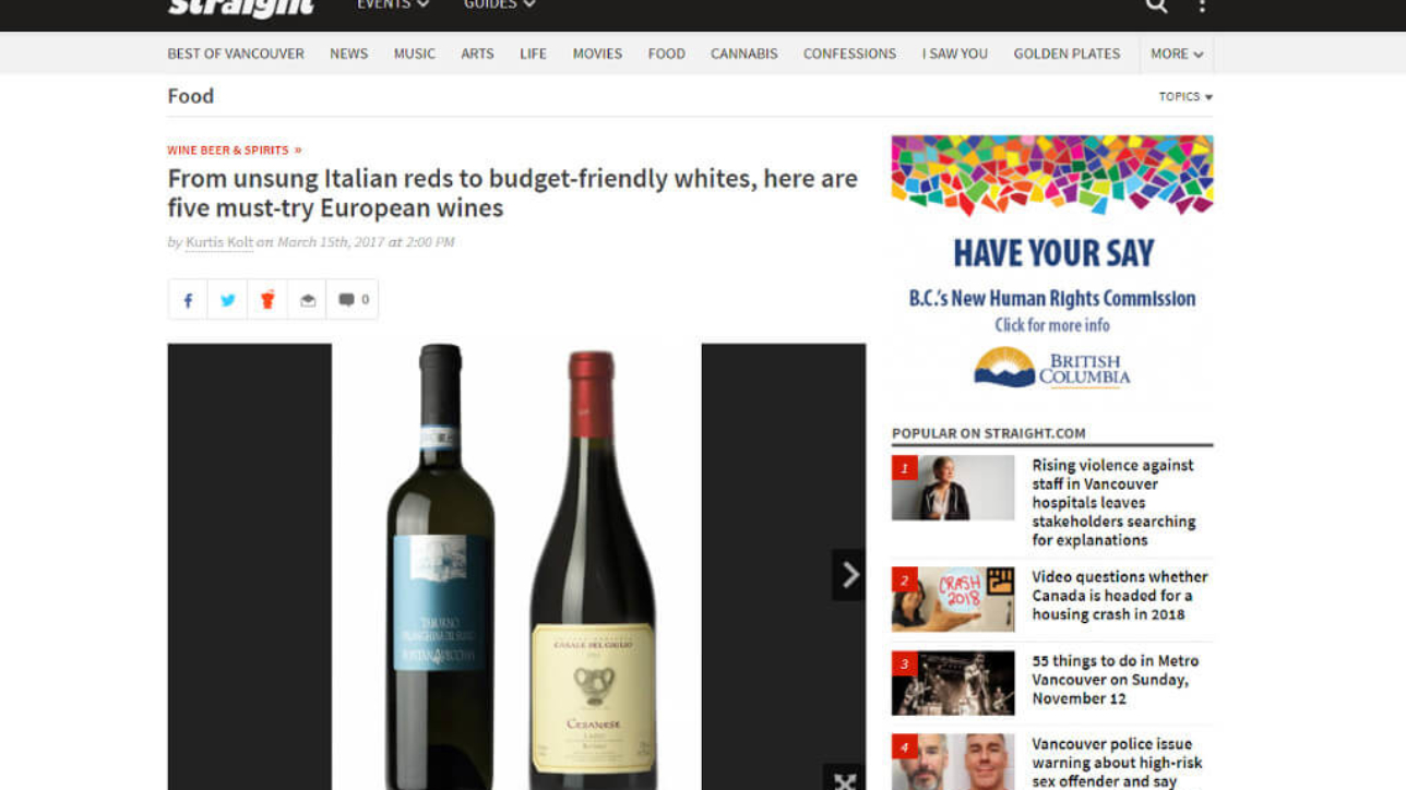 Straight Magazine Top 5 European Wines